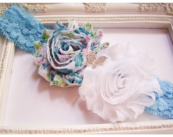 Girls Blue Headband * Teal Headband * Floral Headband * Baby Headband * Toddler Headband * Zara's Baby Boutique
