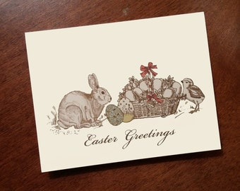 Easter Greetings Cards - Easter Card - Rabbit - Bunny Note Cards