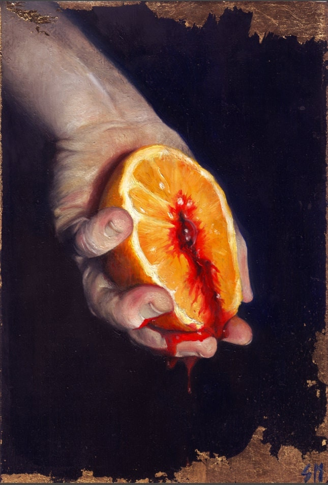 'Monstrum', by Soren Häxan; a painting of a hand holding a bleeding orange against a dark background, with gold leaf.