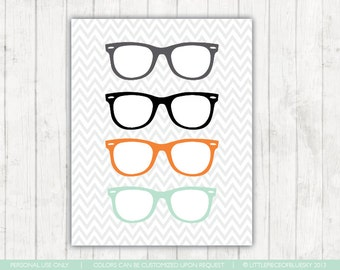 Glasses Print_ Ray Bans Print_8x10 or 11x14_ Hipster Style Print_ Chevron and Glasses_ Nursery Decor_ Nursery Print