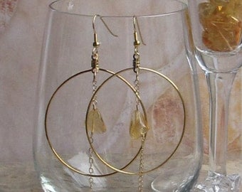 Dangling, hoop Citrine earrings