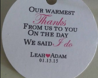 Personalized Wedding Favor Tags Warmest Thanks Wedding Gift Hang Tags