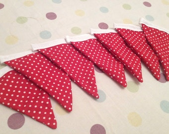 Red polka dot handmade bunting