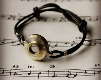 Recycled Trumpet Cornet Valve Cap Adjustable Bracelet
