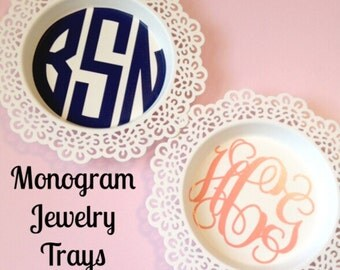 Monogram Circle Jewelry Trays