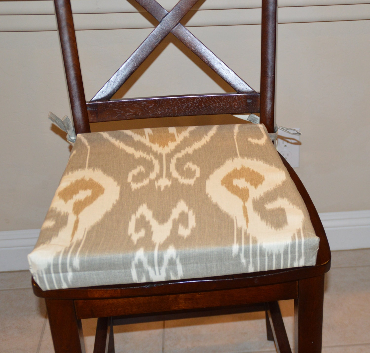 ikat gray fabric seat cushion cover kitchen chair pad cover. Black Bedroom Furniture Sets. Home Design Ideas