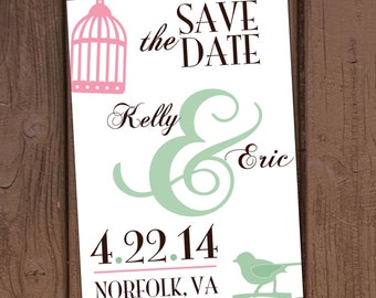 Vintage Birdcage Save-The-Date
