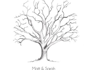 Printable Hand-Drawn Wedding Fingerprint Tree Guestbook (PDF)
