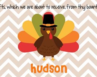 Personalized Placemat - Kids Placemat - Childrens Placemat - Prayer Placemat - Thanksgiving Placemat - Turkey Placemat - Chevron Turkey