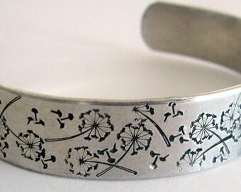 Dandelion bracelet. Hand-stamped aluminum cuff bracelet