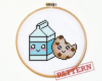 Milk and Cookie Cross stitch Pattern