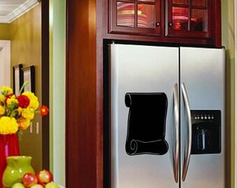Refrigerator Chalkboard Scroll Decal - Removable vinyl - Menu board, notes, memo