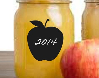 Apple Chalkboard Mason Jar Labels - Set of 12 Self-Adhesive Kitchen Applesauce Labels