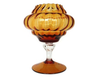 Optic Glass Compote, Amber Empoli Italian Art Glass Vase, Mid Century Blown Glass