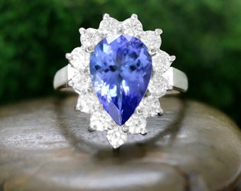 ONE-OF-A-KIND: Tanzanite and Diamond Halo Engagement <Prong> Solid 14K White Gold (14KW) Estate Ring *Fine Jewelry* (Free Shipping)