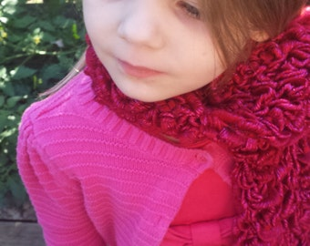 Sparkly Red Crochet Childrens Scarf