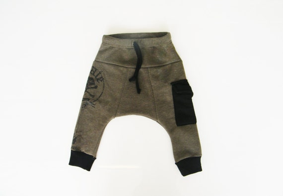 Baby pants-Baby harem pants-Baby boy pants-Baby pant-Baby parachute pants-Kids harem pants-Olive green-Brown color Size:3-6M only