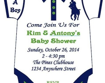 12 Horseman Themed Onesie Baby Shower Invitation (READ DESCRIPTION before ordering)
