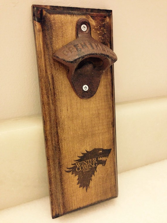 wall mount bottle opener rustic game of thrones by grubbyguitars. Black Bedroom Furniture Sets. Home Design Ideas