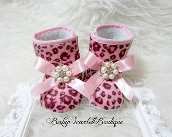 Pink Leopard Print Baby Girl Boots,Soft Sole Boots,Infant Boots