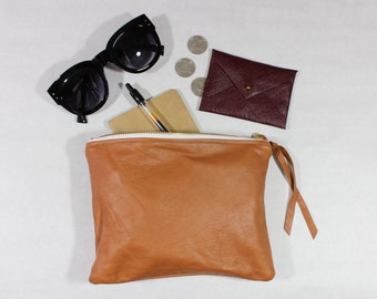 Repurposed Leather 8 Inch Everyday Zipper Pouch / Burnt Sienna