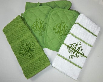 Monogrammed 5 Piece Kitchen Towel Set
