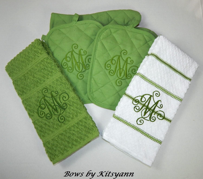 Monogrammed 5 Piece Kitchen Towel Set