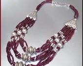 Vintage Sterling Silver Garnet Beaded Graduated Necklace