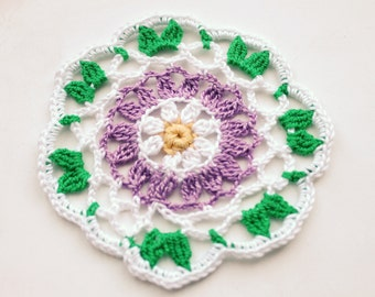 Crochet eco friendly trivet hot pad  - white-green-yellow-lilac