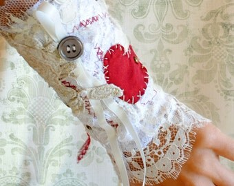 Victorian Tea-Party Lace Wrist Cuff - Torn and Tattered Red Heart