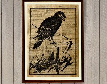 Blackbird poster Bird illustration Rustic cabin decor Japanese art print WA188