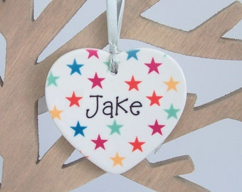 Personalized Ceramic Heart Christmas Tree Decoration - Xmas Tree Ornament Personalised With Name - Buy 3 Get 1 Free
