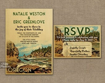 Oregon Wedding Invitation - Printable Vintage Oregon Wedding Invites - Oregon Retro Wedding Suite or Solo VTW