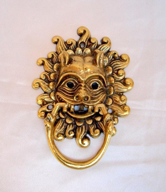 Brass sanctuary door knocker lion 39 s head by willowsandmagnolias - Brass lion head door knocker ...