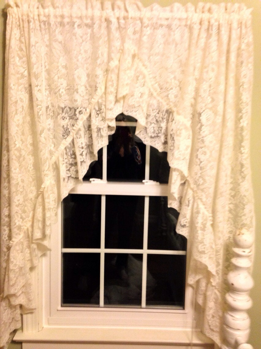 Lace Curtains Vintage Flower Pattern Cottage Styleivory