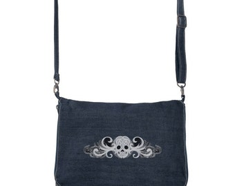 Ladies Denim Messenger Bag With a Ghost Baroque Embroidery
