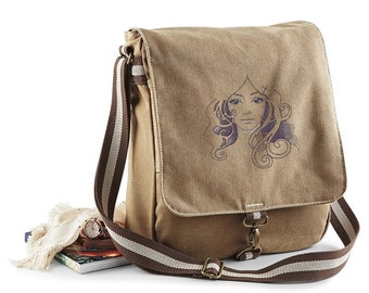 Vintage Canvas Messenger Bag with Embroidered 70's Style Pinup Face