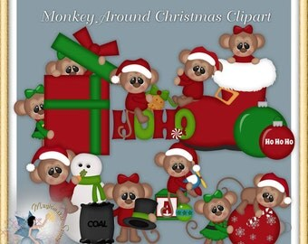 Monkey around Christmas Clipart