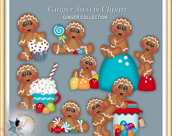 Gingerbread Clipart, Ginger, Holiday Sweets and Candies