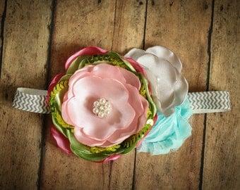 Light Pink Aqua Lime and Gray Satin Flower Headband