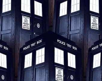 Doctor Who Packed Tardis Cotton Woven Fabric - by yard