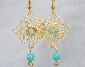 Handmade wire crochet earrings.Gold wire earrings.Dangle crochet gold wire earrings Aqua earrings Handcrafted wire jewelry.Knitted earrings.