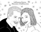 Custom Portrait, 2 people + landscape, digital drawing, unique gift for birthday, wedding… ! Black & White