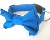 Dog collar Blue dog collar Dog collar with bow tie Dog bow tie collar