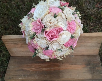 Pink Sola Flower Bouquet, Sola Flower Bouquet, Bridal Bouquet, Custom, Beautifully Natural, Rustic & Elegant