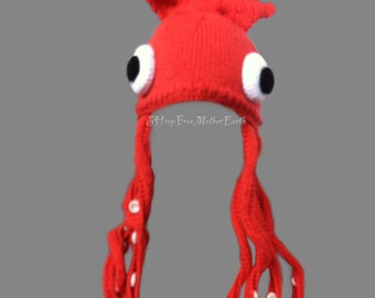 Giant Squid Hat. Knit & Crochet Pattern.
