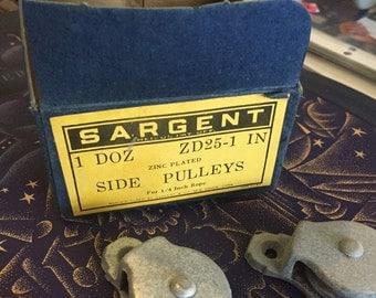 One Dozen Vintage Sargent Side Pulleys