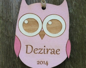 Personalized Owl Ornament: Woodland Ornament/Woodland Baby Gift/Baby Ornament/Owl Nursery/Owl Shower/Personalized Gift for Girls/Pink