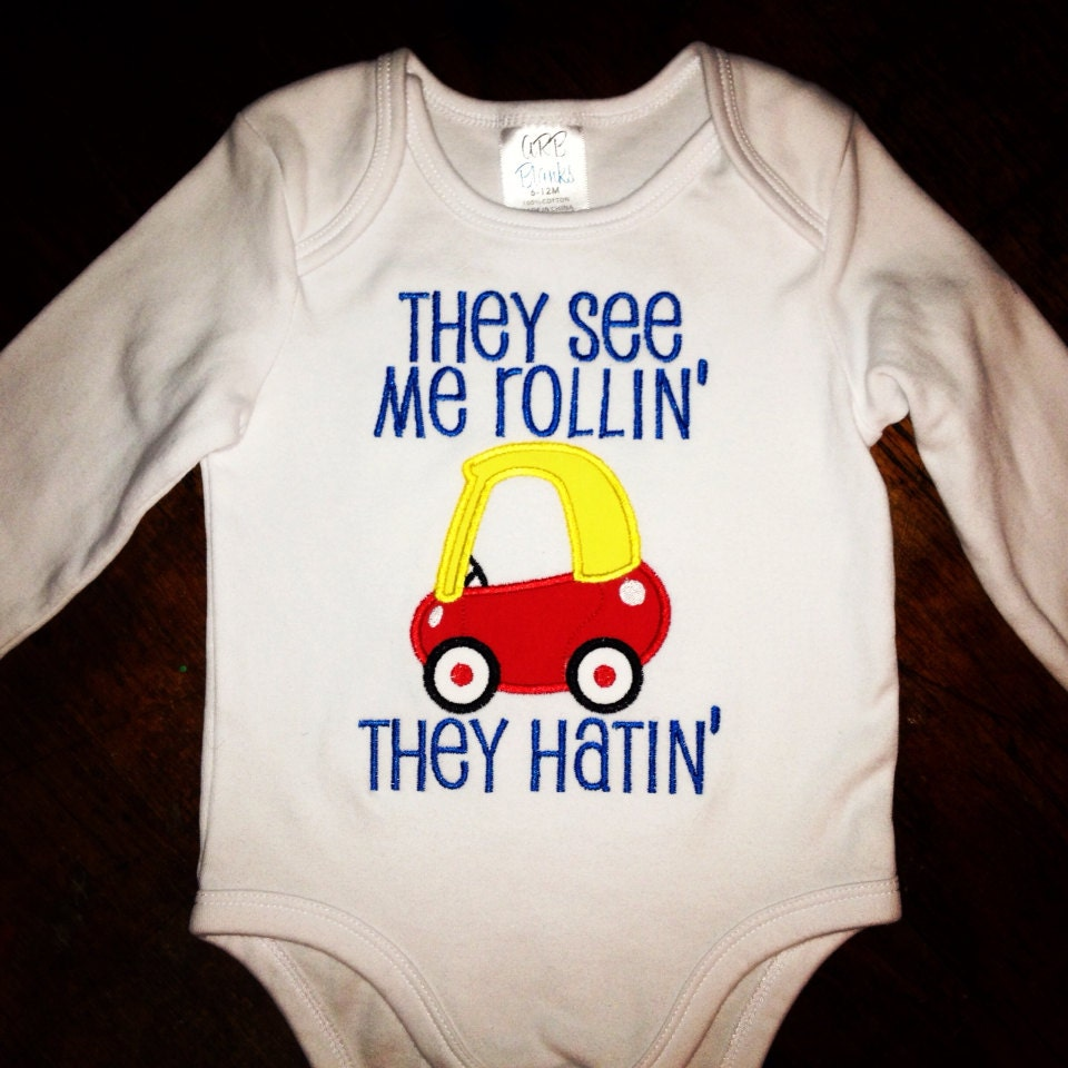 Applique embroidered onesie or shirt with words and by
