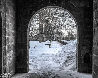 Shelter From The Storm, Lambert Castle, Winter in NJ, 8x10 Inch Print